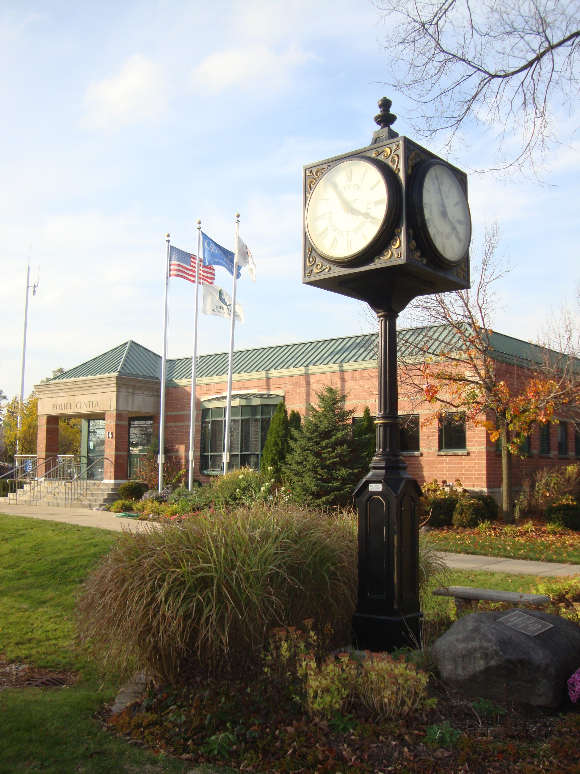 Police Department with Clock